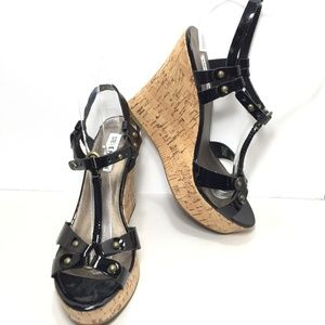Steve Madden Black Leather T-Strap Cork Wedges